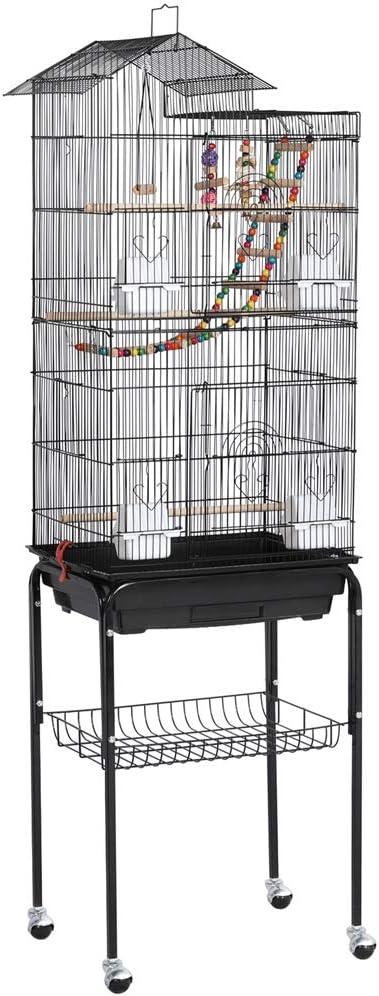Yaheetech Jaula para Pájaros Jaula con Soporte Ruedas para Canarios Jaula Mascota 46 x 35 x 158,5 cm