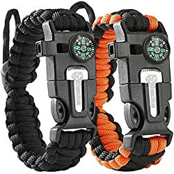 Tactical Survival Bracelet [2 pack] - Paracord 550 + Compass + Fire Starter + Loud Whistle + Emergency Knife - Hiking Camping Fishing Hunting Gear - Backpack - Color: black + black&orange