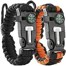 Tactical Survival Bracelet [2 pack] - Paracord 550 + Compass + Fire Starter + Loud Whistle + Emergency Knife - Hiking Camping Fishing Hunting Gear - Backpack - Color: black + black&orange