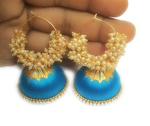 924dd1f37f Buy Silk thread Loreal jhumkas - Bridal Jhumkas - Silk thread jewellery -  Handmade - Prishas - Copper Sulphate Blue Online at Low Prices in India |  Amazon ...