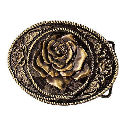 Buckle Rage Bronze Vintage Rose Decorative Belt Buck Snap On Antique Western