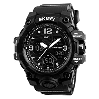 066cefbcc07 Skmei Outdoor Sports Military Men s Watch G Style Shock Resistant Big Face  Digital Diver Watch Led Eletronic Wrist Watch Gift Men (black)   Amazon.co.uk  ...