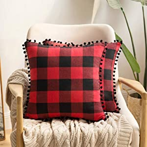 MIULEE Set of 2 Retro Christmas Farmhouse Buffalo Plaid Check Pillow Cases with Pom-poms Decorative Throw Pillow Covers Cushion Case for Sofa Couch 18x18 Inch Red and Black