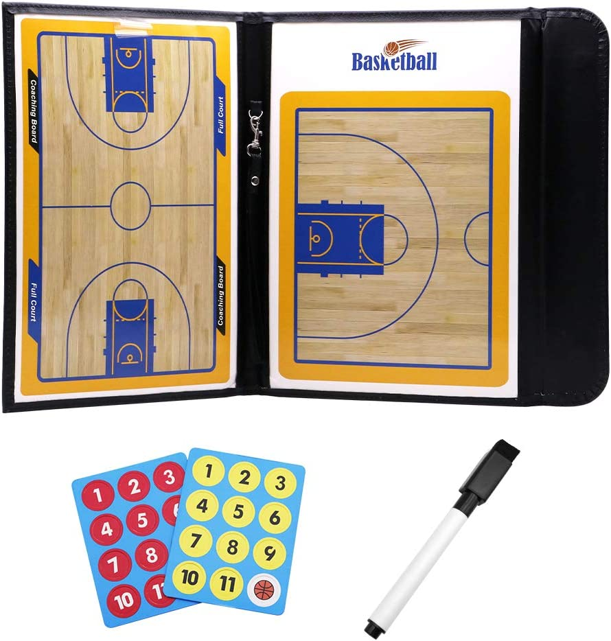 Coaching Strategy Board Kit with Dry Erase Zipper and Marker Pen Foldable Magnetic Tactic Coach ClipBoard KLOLKUTTA Basketball Coach Board