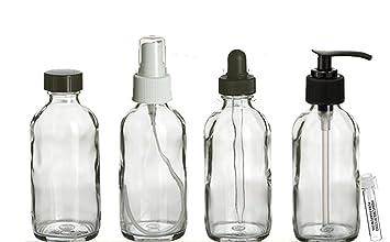 c2b99e0b5f98 Perfume Studio 4oz Essential Oil Clear Glass Bottles - Pack of 4 Boston  Round Glass Bottles; Pump,...