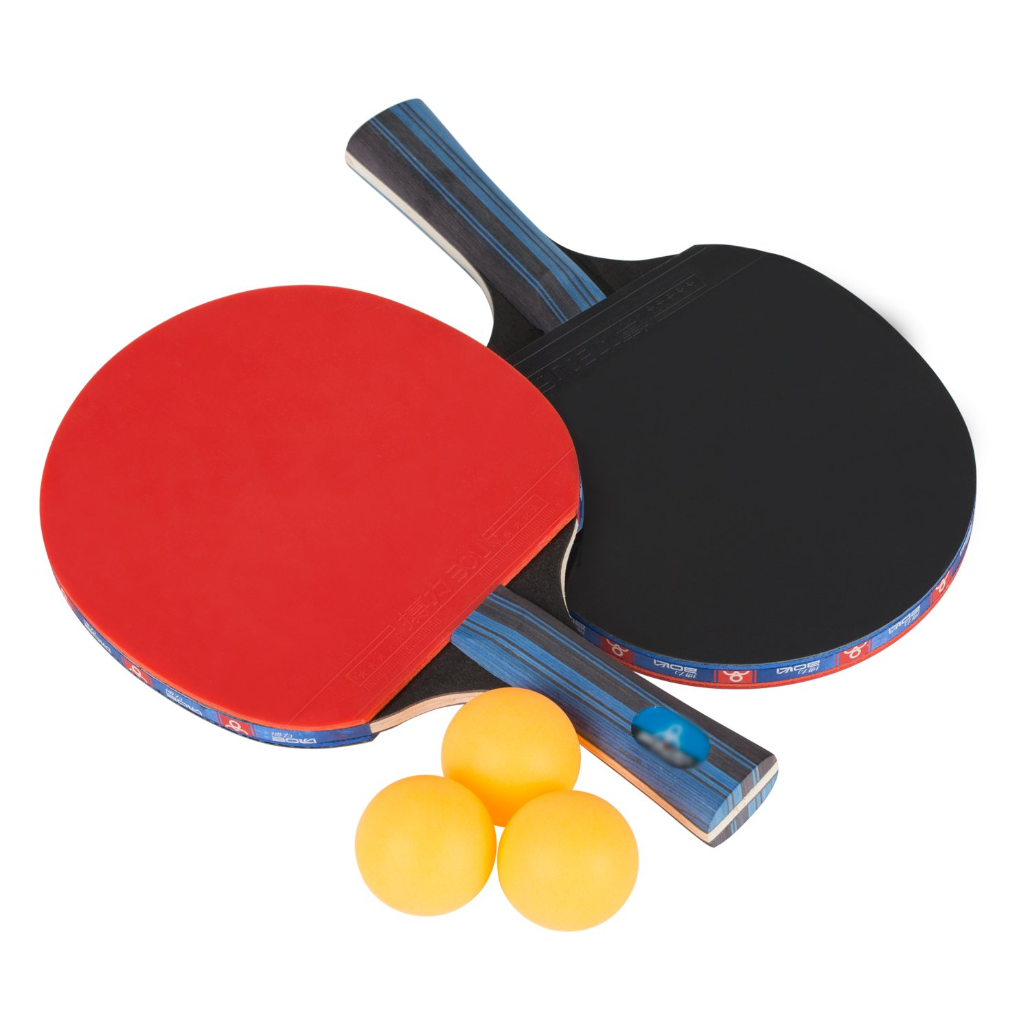 Ancees Table Tennis Set, Premium Paddles/Rackets with case and 3 Balls, PingPong Racket Ideal for Professional & Recreational Games - Soft Sponge Rubber Wood Handle Tennis Bat 5 Ply (2 Bats)