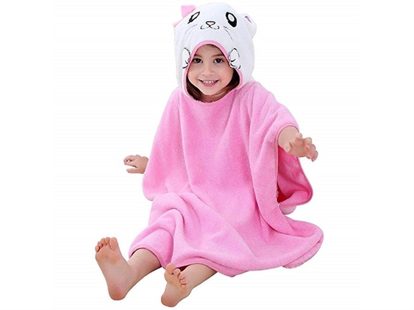 Wesource Activates Kids' Cartoon Cat Hooded Bath Towels Beach Poncho Cute Animal Bathrobe Cloak(Pink)