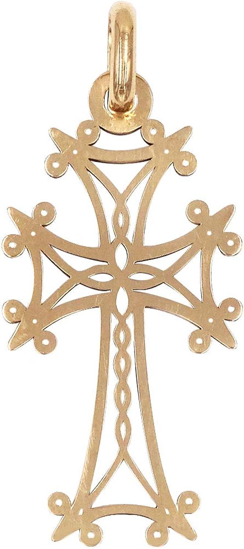 1.85 gr 18 Kt Croix Arm/énienne en or blanc reperc/ée et ajour/ée au laser Fabrication fran/çaise