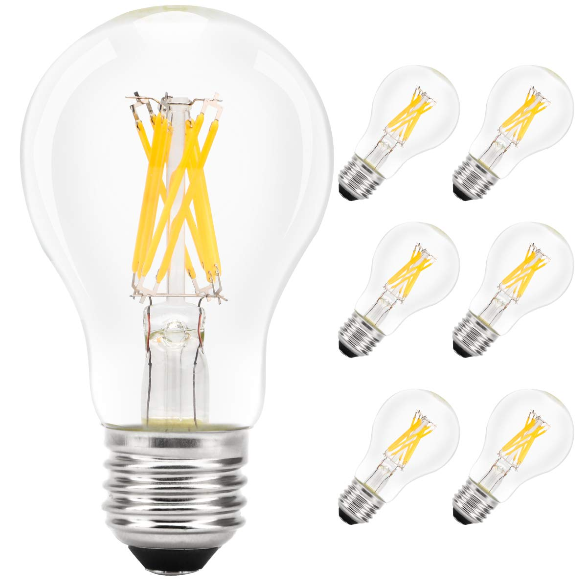 IMIGY E26 Base LED Filament Bulb, Classic A19 Light Bulbs, 8W Equivalent 60W, 800LM, Warm White 2700K, Filament Clear Glass, Non Dimmable Pack of 6