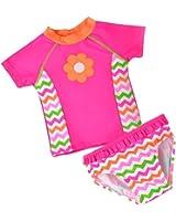 Baby Toddler Girls 2 piece Rose Rash Guard Flower Lovely Bathing Suit