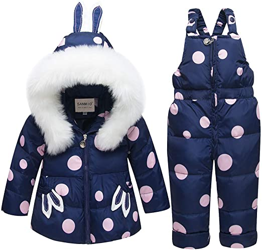 ZOEREA Unisex Baby Winter Snowsuit 2 Piece Hoodie Puffer Down Jacket with Snow Ski Bib Pants Outfits