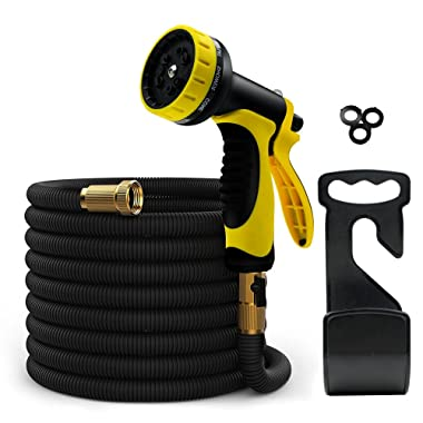 ERAY 50 Feet Expandable Garden Hose Pipe - No-Kink Flexible Water Hoses Hosepipe, Extra Strength Triple Latex Inner Tube/ 10 Function Spray Gun/Storage Bag, Black