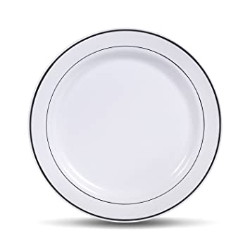 Wedding Heavyweight Plastic Party Plates White with Silver Rim 50 Pack (10.25 Inch  sc 1 st  Amazon.com & Amazon.com: Wedding Heavyweight Plastic Party Plates White with ...