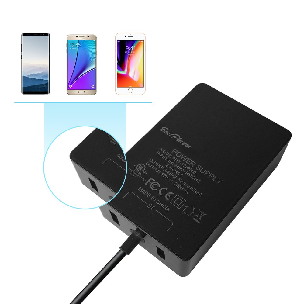 [UL Listed] Surface Pro 3 Pro 4 Charger, BestPlayer Surface Power Supply Adapter 36W 12V 2.58A Charger with 8.2 Ft Power Cord/2-Port USB for Microsoft Surface Pro 3 Pro 4 i5 i7 Tablet by BestPlayer (Image #6)