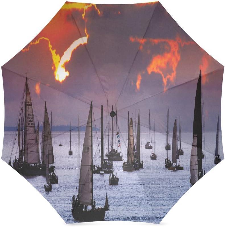 Custom Sailing Ship Compact Travel Windproof Rainproof Foldable Umbrella