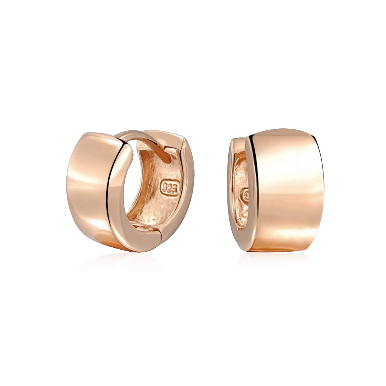 8665efe0e19c9 Simple Basic Wide Kpop Huggie Hoop Earrings For Women For Men Rose Gold  Plated 925 Sterling Silver Shinny Flat Hinge  Amazon.co.uk  Jewellery