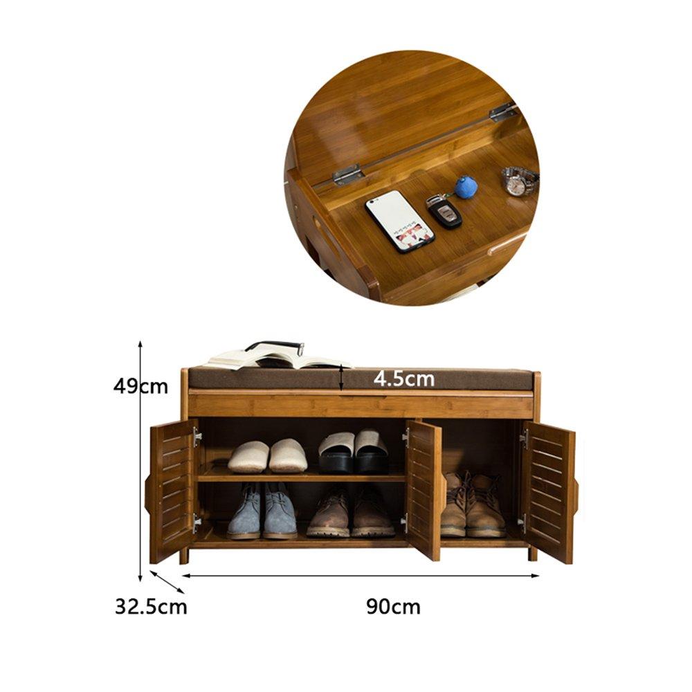 YANFEI 靴ラックシンプルな家庭用ストレージ小さな靴キャビネットホールキャビネット竹シンプルでモダンな防塵靴ベンチ (サイズ さいず : 90 * 49 * 32.5CM) B07F9W3STL90*49*32.5CM
