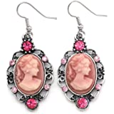 Pink Cameo Drop Dangle Earrings Fashion Jewelry