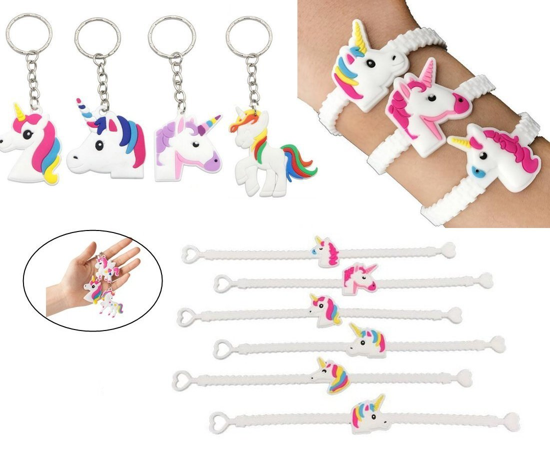 Sakolla (Set of 37) 25pcs Magical Unicorn Party Novelty Toy Wristband +12pcs Unicorn Keychains Party Favors,for Kids Birthday Party,Novelty Toys and School Classroom Rewards