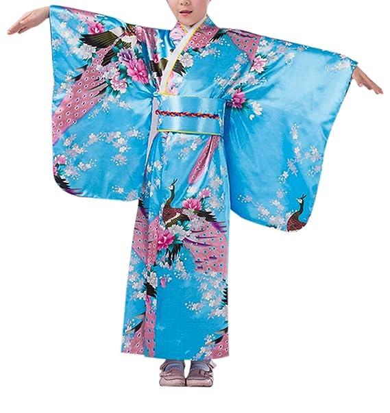 KRUIHAN Niños Yukata Vendimia Estilo Japones - Niña Kimono Tradicional Ropa Seda Tela Túnica Desgaste Boda Partido Actuación Vestido