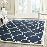 Safavieh Cambridge Collection CAM134G Handmade Navy and Ivory Wool Square Area Rug, 4-Feet