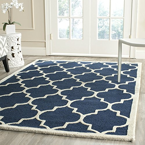 Safavieh Cambridge Collection CAM134G Handmade Moroccan Geometric Navy and Ivory Premium Wool Square Area Rug (8′ Square)