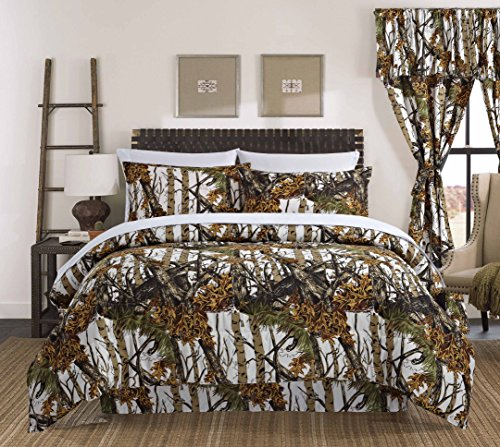 Regal Comfort The Woods White Camouflage Twin 4 Piece Premium Luxury Comforter, Bed Skirt, and 2 Pillow Shams Set – Camo Bedding Set For Hunters Cabin or Rustic Lodge Teens Boys and Girls