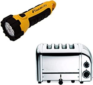 Toucan City LED Flashlight and Dualit New Gen 4-Slice Chrome Wide Slot Toaster with Crumb Tray 40415