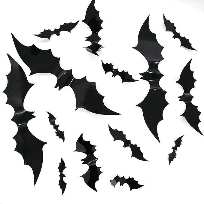 Halloween Cemetery Background Stickers Room Doors Decorations Creepy Bats Decals