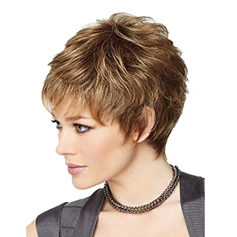 DSY nueva moda encantadora mujeres pelucas de cabello pelo humano peluca de aspecto Natural Peluca Corto