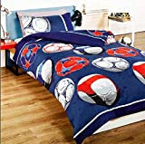 Football (Blue) Children's Rotary Single Duvet Quilt and Pillow Case Bedding Set