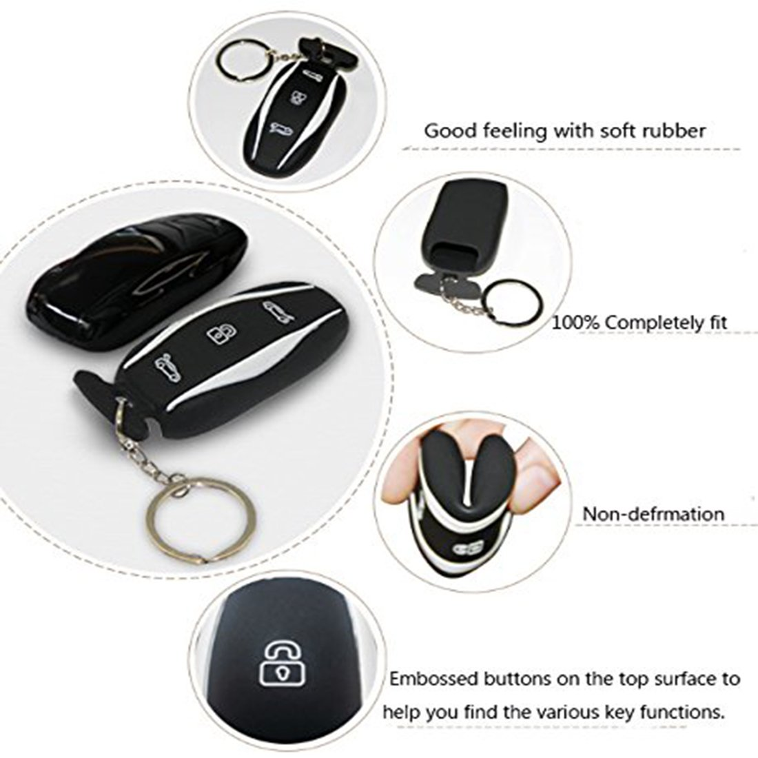 Car Silicone Key Case Cover Key Chain Key Fob Cover Compatible Tesla Model X Red