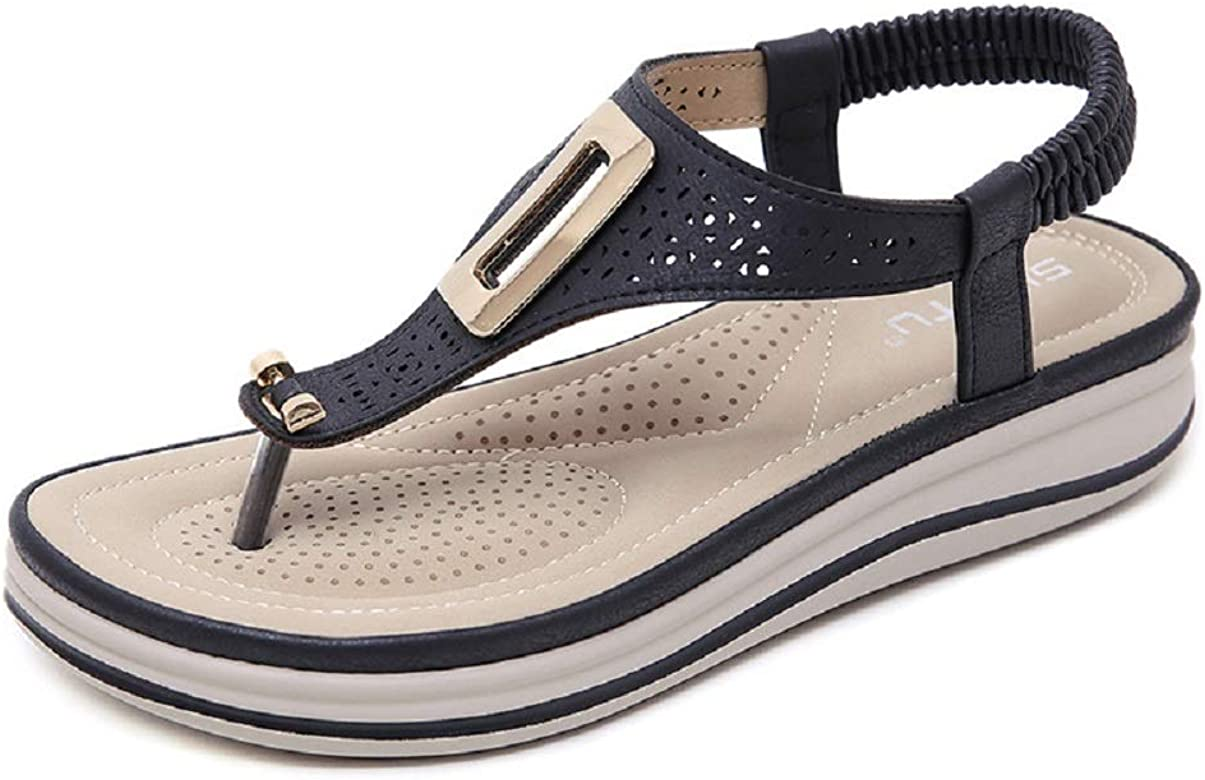 Sandalias De Mujer Metal Toe Wedge Comfort Zapatillas Tallas Grandes Amazon Es Zapatos Y Complementos