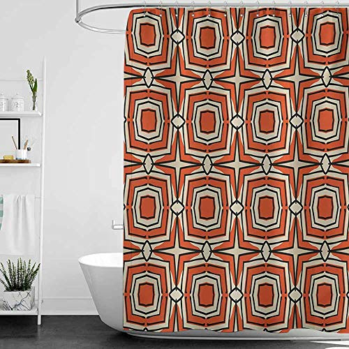 Shower Curtains for Bathroom Sunflower Geometric,Squares and Rhombuses with Bullseye Pattern Abstract Warm Colored Shapes,Burnt Sienna Beige,W36 x L72,Shower Curtain for Small Shower stall