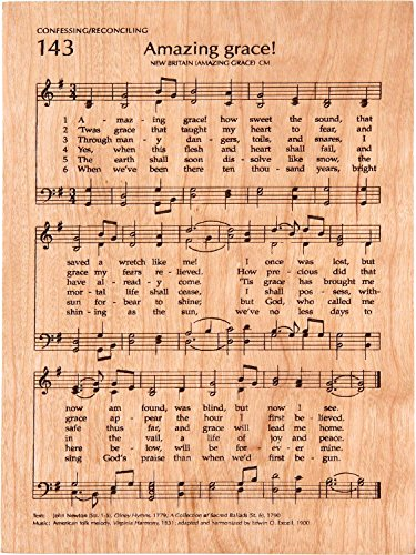 Amazing Grace Sheet Music 5 x 7 Cherry Wood Engraved Hymnal Page - Grace Cherry