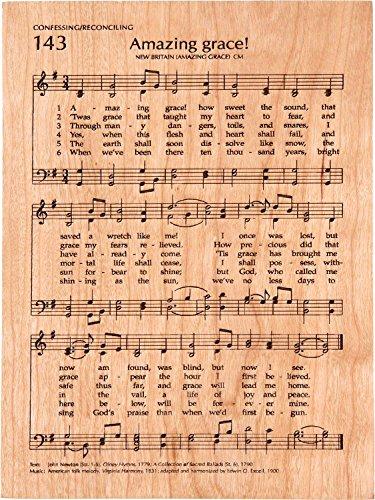 Amazing Grace Sheet Music 5 x 7 Cherry Wood Engraved Hymnal Page - Cherry Grace
