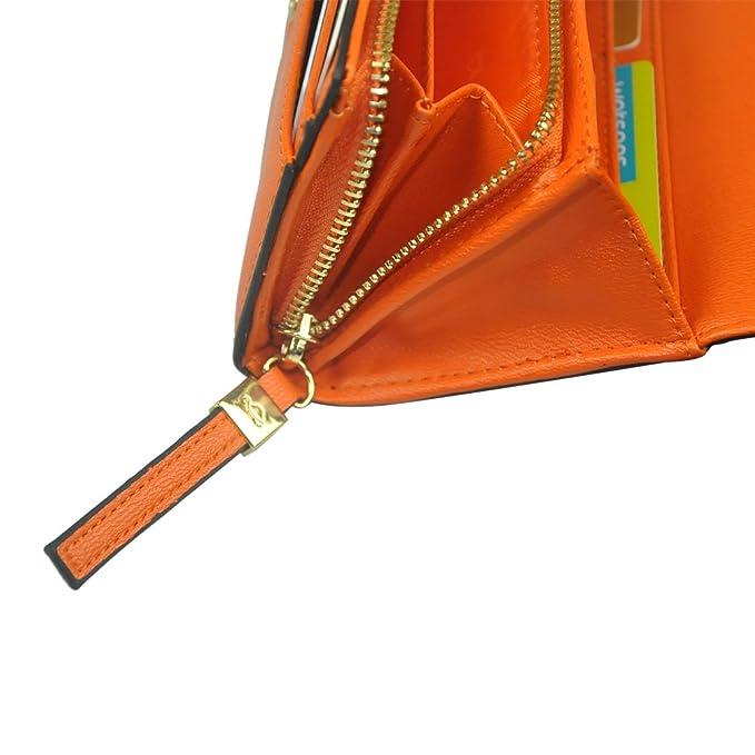 carpisa mujeres moda cartera de piel cierre de bolso de mano Casual Viaje Bolso de mano Tarjeta de crédito embrague Hold caso, Anaranjado: Amazon.es: ...