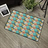 Door mat W16 x L24 INCH Pastel,Hand Drawn Style Leaves with Colorful Silhouettes Contemporary Doodle Composition, Multicolor Natural dye Printing to Protect Your Baby's Skin Non-Slip Door Mat Carpet