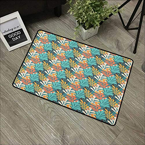 Contemporary Leaf Silhouette - Bathroom door mat W19 x L31 INCH Pastel,Hand Drawn Style Leaves with Colorful Silhouettes Contemporary Doodle Composition, Multicolor Our bottom is non-slip and will not let the baby slip,Door Mat Car