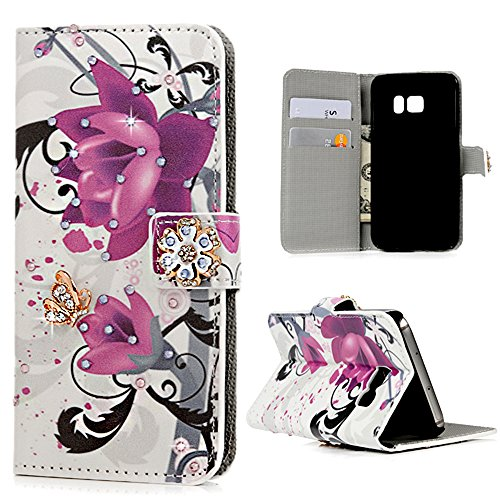 S7 Case (NOT for S7 Edge), Mavis's Diary 3D Handmade Wallet with Bling Crystal Purple Flower Diamonds Butterfly Card Holders Magnetic Flip Cover & Dust Plug & Screen Protector & Stylus