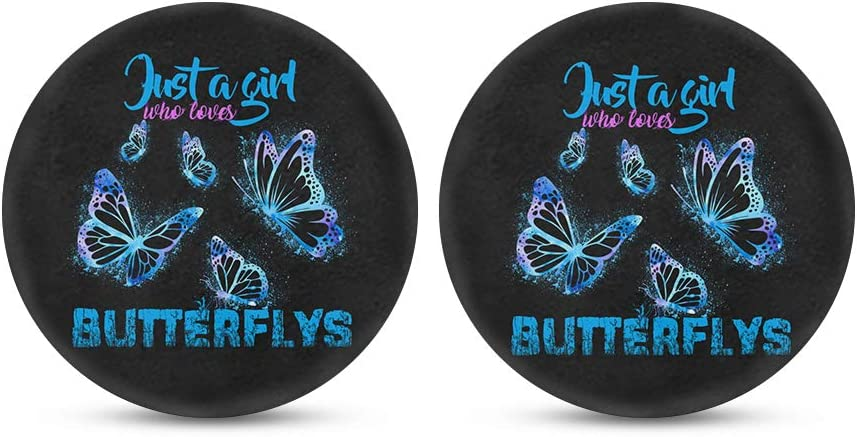 Belidome Butterfly Car Cup Holder Coasters Full Set Auto Decor Inserts,Galaxy Blue Design, Just A Girl Who Loves Butterflies