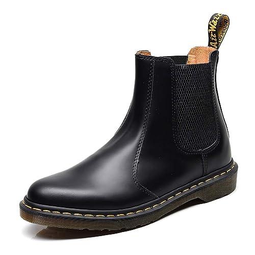 Minetom Hombre Mujer Botas Militares de PU Cuero Unisex Botines Plana Moda Invierno Zapatos Felpa Peluche Forradas Calientes Boots: Amazon.es: Zapatos y ...