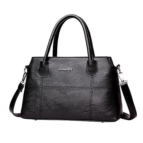b89477d01ec0 Amazon.com  Clearance Sale! ZOMUSA Fashion Women Leather Splice Handbag  Shoulder Bag Crossbody Messenger Bag Tote Bag (Black)  Shoes