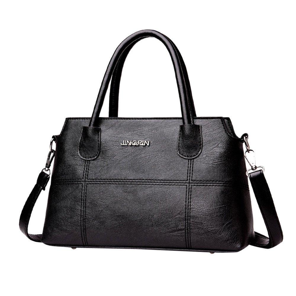 WugeshangmaoLeather Crossbody Bag for Women Deals,Women's Shoulder Bag Elegant,Teen Girls' Leather Handbag Tote Bag Black