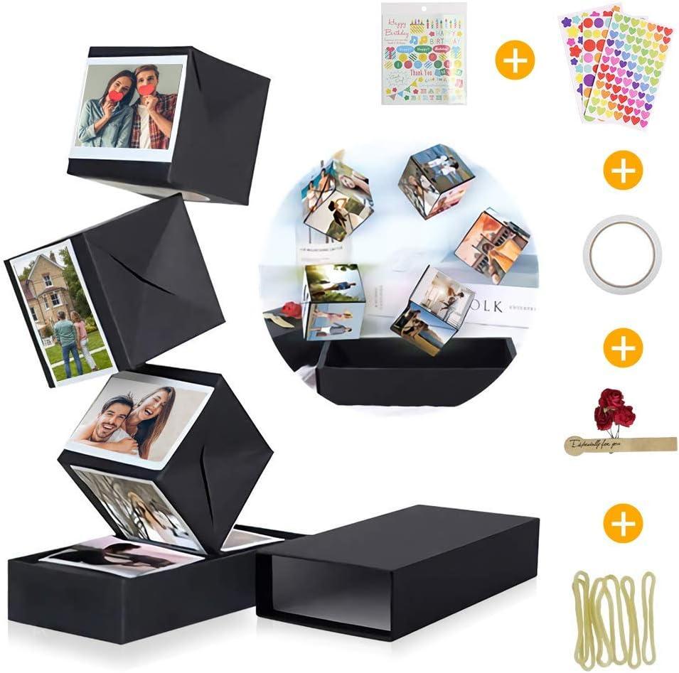 KIPIDA Caja Sorpresa Explosion Box, Creative DIY Álbum de Fotos Libro de Recuerdos Caja de Regalo Álbum de Fotos Hecho a Mano Caja Regalo de Cumpleaños,Aniversario,San Valentín para Niña,Novio,Madre