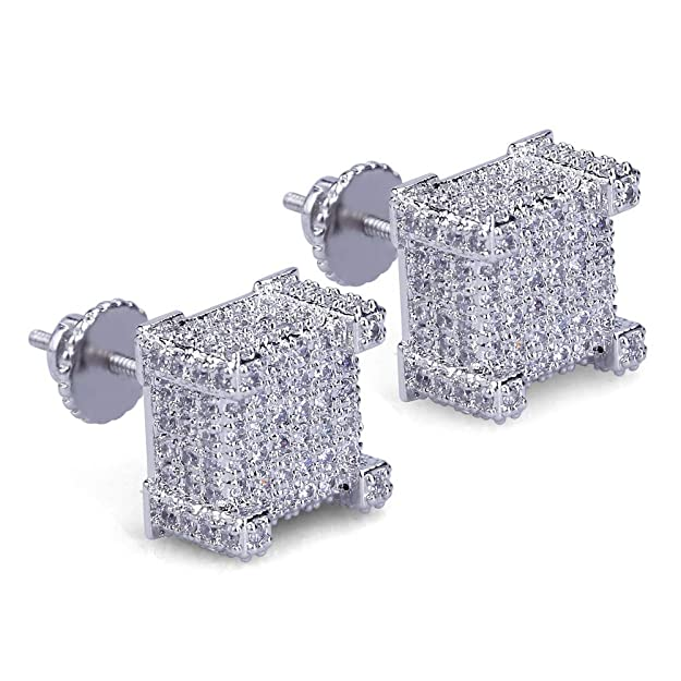 3. SENTERIA Iced Out Mens Cubic Zirconia Earrings