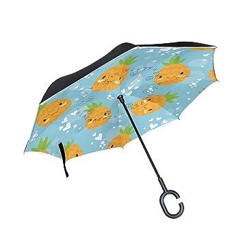 MAILIM Paraguas Reversible para Coche, Diseño de Piñas, Color Azul
