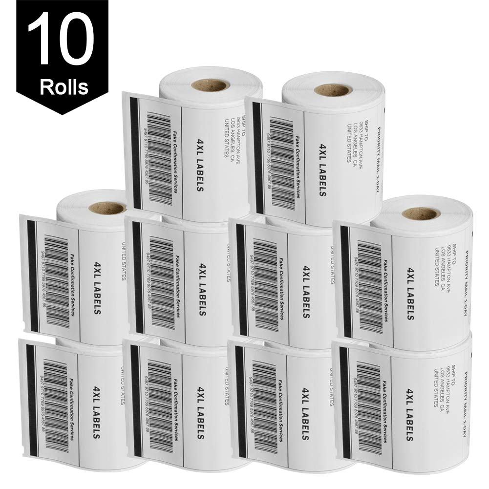 PAPRMA Dymo 1744907 Compatible Shipping Labels - 4'' x 6'' Thermal Postage Labels for 4XL, Ultra Strong Permanent Adhesive, Waterproof, Grease Resistant,Perforated(10 Rolls - 220 Labels Per Roll) by PAPRMA