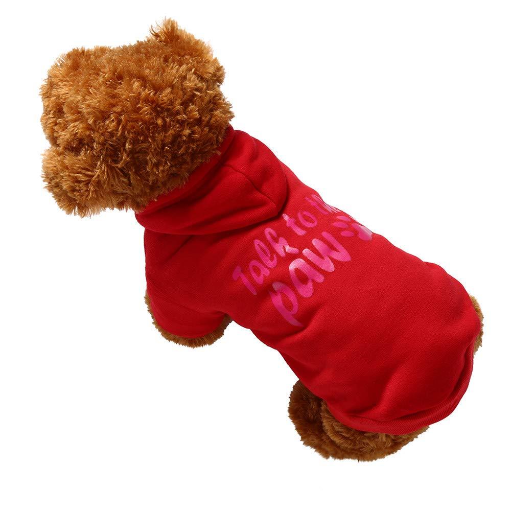 Red XXXL Red XXXL Twinsmall Dog Pet Clothes Hoodie Warm Sweatshirts Puppy Coat Apparel Small Coat (XXXL, Red)