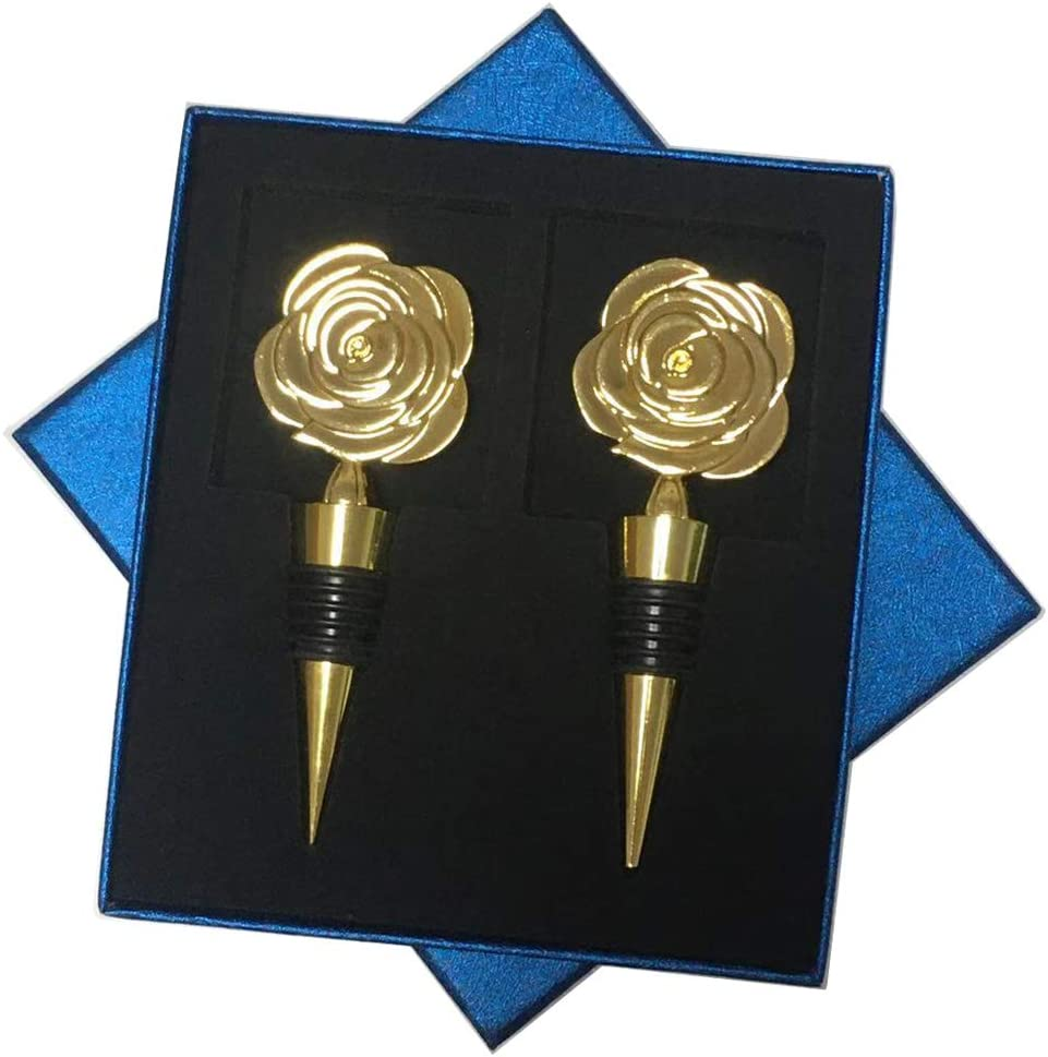 Flower Wine Corks Bottle Stoppers Rose Wine Stopper Cute Golden Wine Saver for Valentines Day Wedding Bars Party Gifts 2pcs with Great Box Package